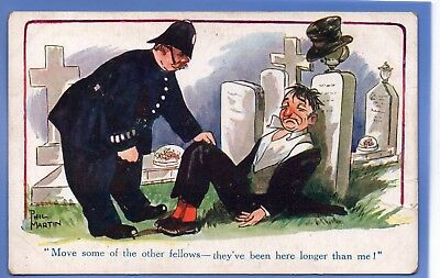 1925c POLICEMAN FINDS DRUNK MAN IN CEMETERY PHIL MARTIN INTER ART POSTCARD