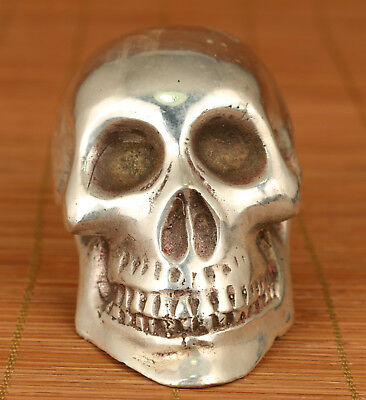 Chinese Old Copper Tibet Silver Handmade Carved Skull Head Statue