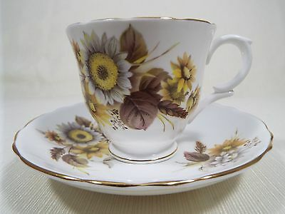 Crown Staffordshire Bone China Cup and Saucer Daisy Floral Pattern Yellow Brown