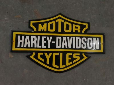 """Porcelain HARLEY DAVIDSON logo Sign SIZE 16"""" X 24"""" INCHES Pre-Owned"""