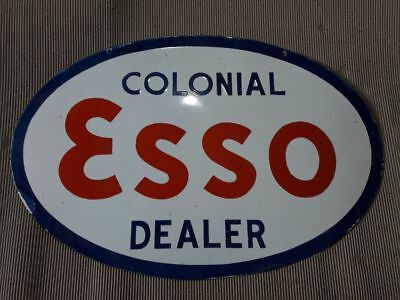 "PORCELAIN oval Colonial ESSO Dealer ENAMEL SIGN 24"" X 36"" Inches 2 sided"