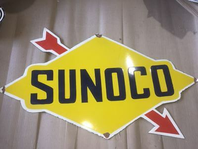 "Porcelain SUNOCO with ARROW Sign SIZE 32"" X 35"" INCHES Pre-Owned"