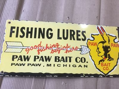 Porcelain Fishing Lures Paw Paw Bait co Porcelain Sign 20 X 9 Inches Pre-Owned