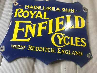 """Porcelain ROYAL ENFIELD Sign SIZE 16"""" X 19"""" INCHES Pre-Owned"""