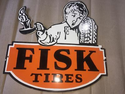 "Porcelain FISK TIRES Sign SIZE 18"" X 18"" INCHES Pre-Owned"