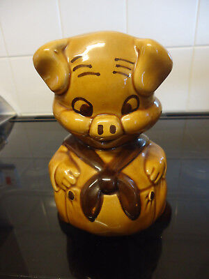 "Treacle Ware (?) 7"" Porky Pig (?) vintage ceramic money box with stopper"
