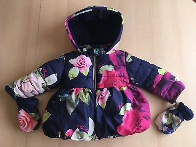 Ted Baker Baby Girls Red Roses Floral Padded  Coat Jacket & Mittens 12-18 Months