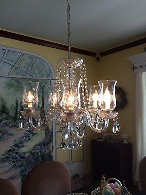 Vintage Crystal Chandelier Five Light
