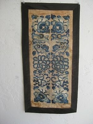 Fine Old Antique Chinese Forbidden Stitch Embroidered Silk Robe Sleeve Panels
