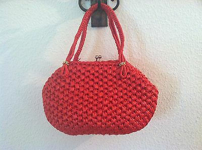 Vintage 50's women purse red straw 3 section gold clasp handbag