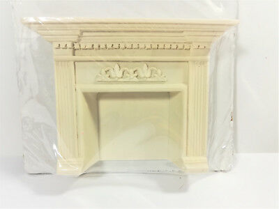 Dollhouse Miniature Large Cast Poly Resin Fireplace with Mantel 1:12 Scale