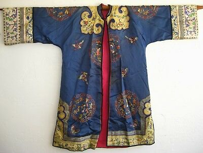 Antique Chinese Imperial Embroidered Blue Silk Satin Vtg Court Robe