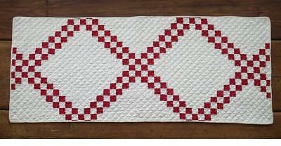 The BEST Quilting The TINIEST Pieces Antique Red White Table QUILT RUNNER