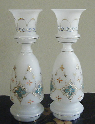 2 Antique Bristol Glass Hand Enameled w GOLD GILT Candle Holders / Lamp Base