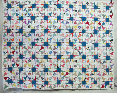 "Antique 1930's Primitive Hand Quilted ""Scrappy"" Feed Sack Quilt 64"" x 82"" NR yqz"
