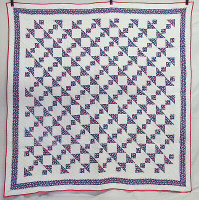 "Vintage Primitive Hand Pieced & Quilted Red White Blue ""Star"" Quilt 75""x74"" yqz"