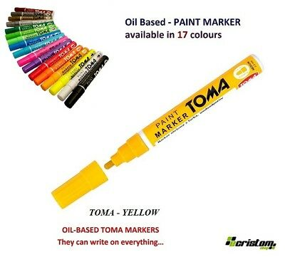 Yellow Waterproof Permanent Car Tyre Tire Metal Paint Pen Oil Based Marker Toma