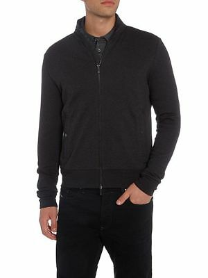 Nwot Hugo Boss Charcoal Sommers 10 Slim Fit Cotton Zip Front Sweat Jacket Size L