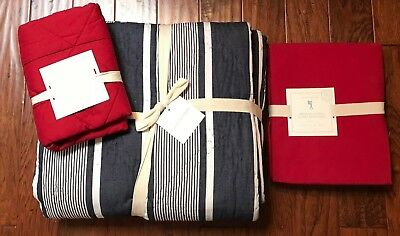5 Pc Pottery Barn Kids Blue JACKSON Quilt +Red Sheet Set + Red MAX Sham NWTs
