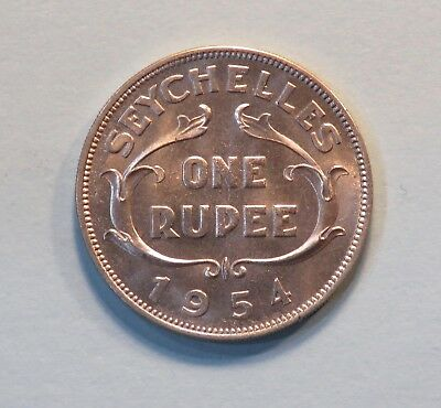 1954 Seychelles Rupee Copper Nickel Unc  World Coin KM13 Rare Low Mintage Africa