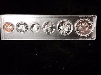"1963 Canada Silver Royal Mint Proof Like Original 6 Coin Set ""With Mint Luster"""