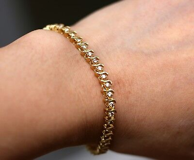 14K Solid Yellow Gold Natural Diamond Link Tennis Bracelet 6.75""