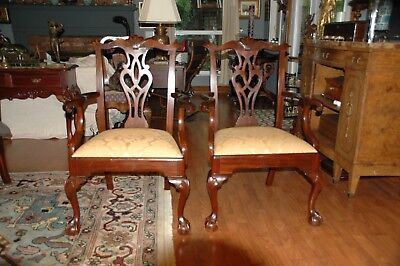25065E: Pair HENKEL HARRIS #112 Mahogany Chippendale Style Arm Chairs, Claw Feet