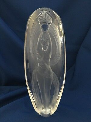"Lalique Vase Eroica Satin, Woman Holding Flame 13"" In Original Box #12337"