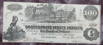 1862 $100 - The Confederate States of America Auction w/a Bid Starting at $0.99.