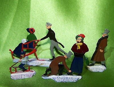 "4 Antique 1"" Made in Germany Heinrichsen Lead Flats Painted Metal Ice Skaters"