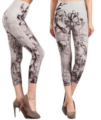 77051944dafac3 M-RENA FLORAL SEAMLESS High Waist Tummy Tuck Cropped Leggings ...