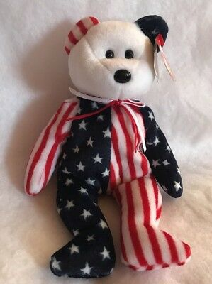 Spangle Ty Beanie Baby 1999 White Face Rare with Tag Errors