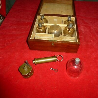 """Rare Civil War Era Doctor's  """" Snowden """" Mked Blood Cupping Instrument Set / Key"""