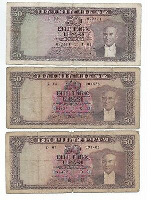 Three TURKEY 50 Lira L.1930  One - P 175 , not sure about other two.