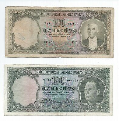 twoTURKEY 100 Lira L.1930    P-176 and damaged P-177 - see pic3