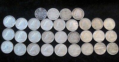 1902-1968 Canada 10 Cents Lot- 31 Silver Coins **All Different Dates**