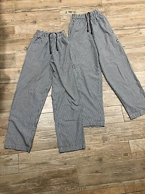 (Lot of 2) Chef Works Women Checkered Elastic Drawstring Waist Pants Size XS