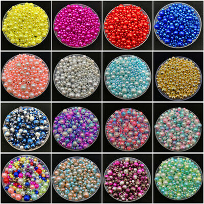 4mm-10mm 30g Mix Size Rainbow Imitation Pearls Round Beads DIY Jewelry Making