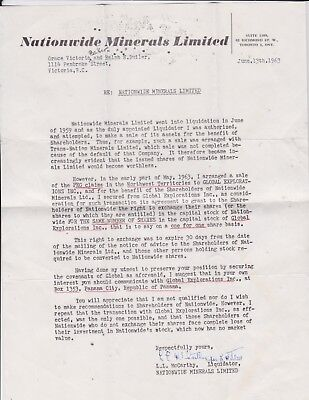 1963 Nationwide Minerals   Limited Advertise Letter Canada - Liquidation