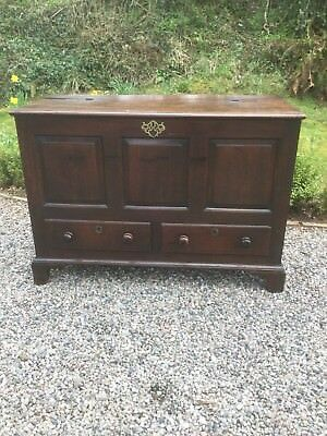 Antique Georgian Oak Coffer / Mule Chest With Drawer