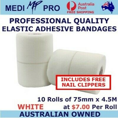 Sports strapping tape: Elastic Adhesive (stretch) 10 rolls, white 75mm x 4.5m