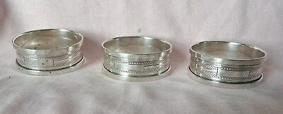 Set Of 3 Silver Napkin Rings Henry Griffiths & Son Birmingham 1932