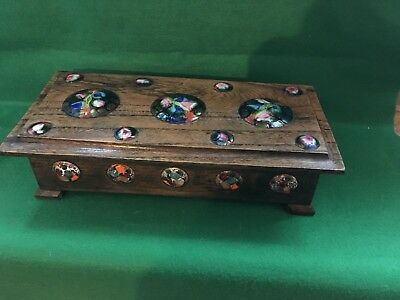 Arts And Crafts Oak Box With Enamel Roundels Liberty???