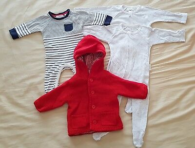 Purebaby Organic Cotton Clothing Lot 0-3 3-6 000 00 Baby Zip Suits Coat Knit