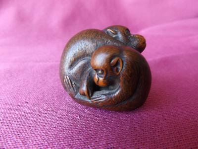 Vintage Japanese Wooden Sculpture Netsuke Two Monkeys Mother Baby  Signed