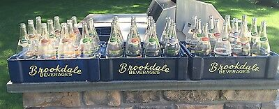 VTG LARGE 28oz BROOKDALE Soda Bottles w/ Crate CLIFTON BLOOMFIELD NJ OLD Antique