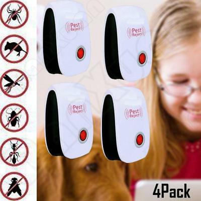 Ultrasonic Pest Repeller Ultrasound Spiders Mouse Roach Electronic Reject 4 pack