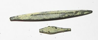 Zurqieh -As4378- Ancient Holy Land  Two Bronze Arrow Heads. 1500-800 B.c