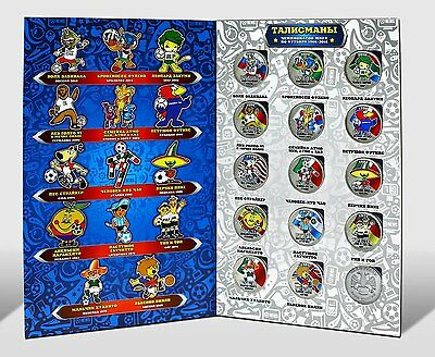 """Russia coins  """"Talismans of the World Cup 1966-2018""""  1 rubles colored unc"""
