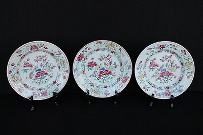 Three famille rose plates 18th century Chinese export